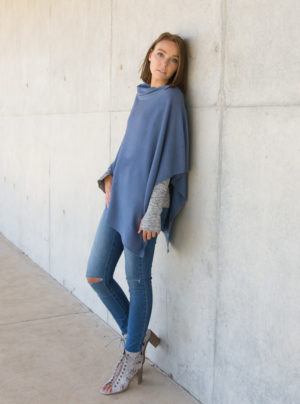 denim blue merino wool poncho