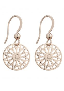 Allure fashion detailed rose plated earrings