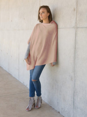 merino wool poncho in pale pink