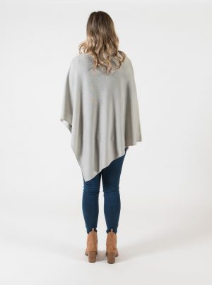 merino wool poncho in light grey colour
