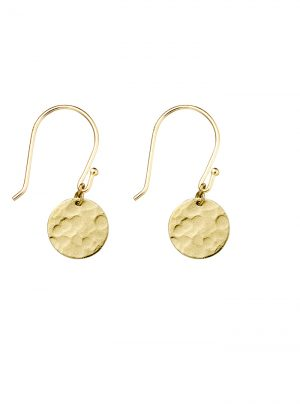 hammered disc earring in yellow gold