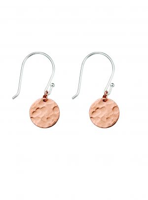 Rose gold with silver hook and hammered disc