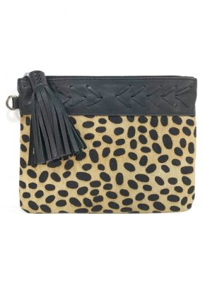 Leather cowhide clutch bag with cheetah print