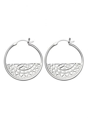Intricate detail hoop earrings in silver