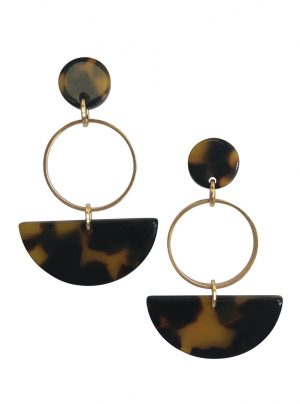 Brown tortoiseshell and gold drop earring