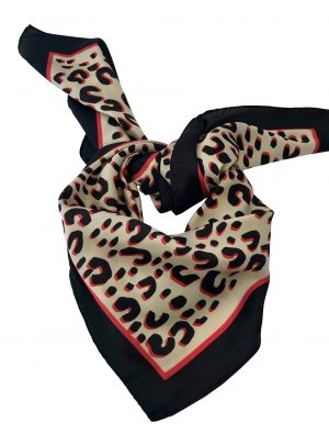 Square animal print scarf with black and coral edge