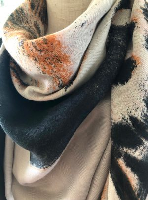 Soft winter scarf with leopard print