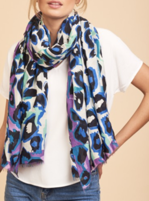 Animal print scarf in purple and black
