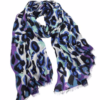 purple and blue animal print scarf