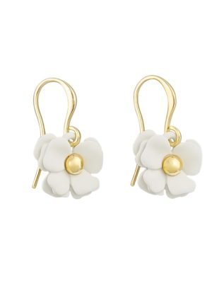 small white flower drop earrings