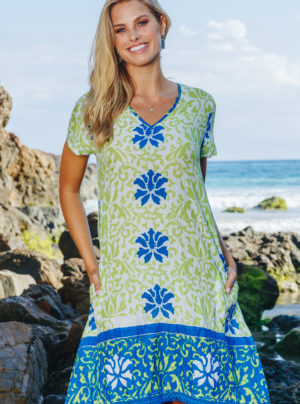 bright lime and blue summer dress