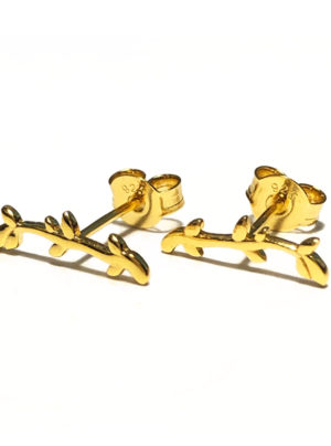 gold olive branch studs
