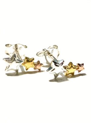 silver, gold and rose gold star earrings