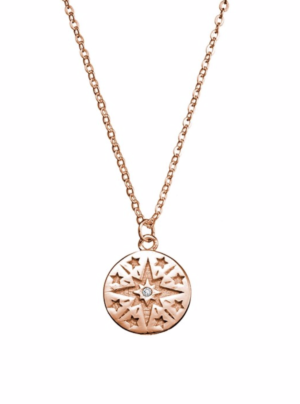Star necklace with small cubic zirconia in rose gold