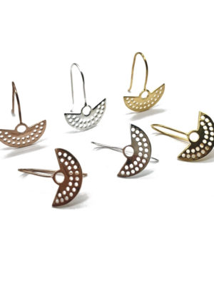 Cut out drop earrings in silver, gold or rose gold
