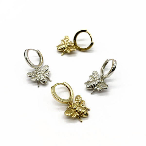 Gold and silver bee earrings