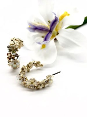 pearl and flower hoop earrings