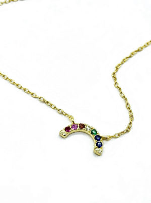 rainbow charm on gold chain