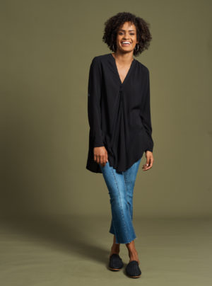 rayon blouse in black