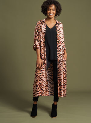 long line shirt dress in pink zebra print