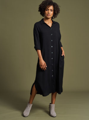 black button through shirt dress