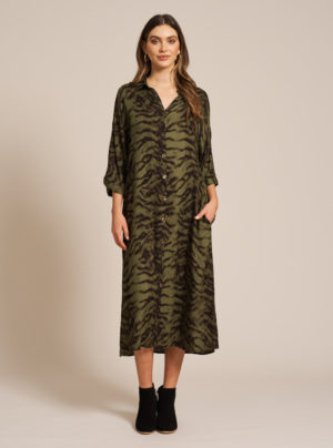 button up shirt dress in khaki
