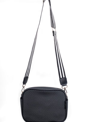 rectangular shoulder bag in punched neoprene