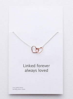 Rose gold linked hearts with sterling silver chain