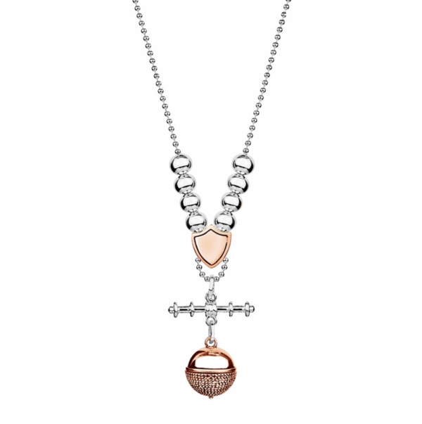 ball and fob in rose gold and silver