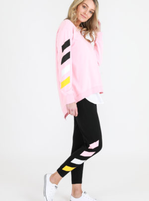Gisele sweater in flamingo pink with stripe detailing on the right sleeve