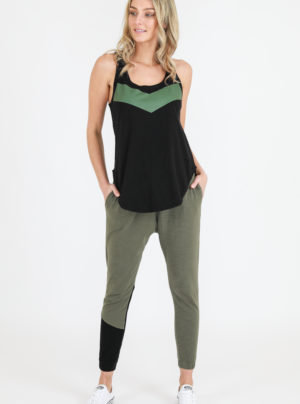 Adriana tank in black with khaki v stripe
