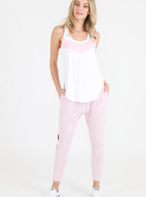 Adriana tank in white with pink stripe