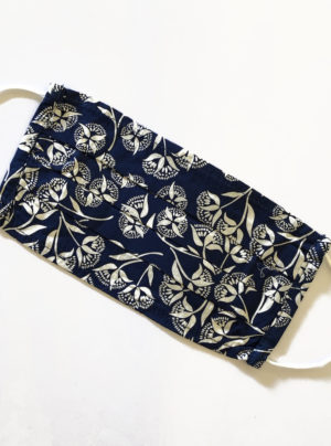 navy mask with white flowers