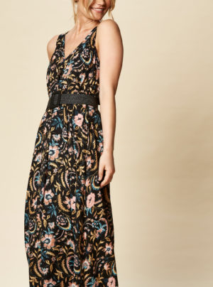 maxi dress in black floral print