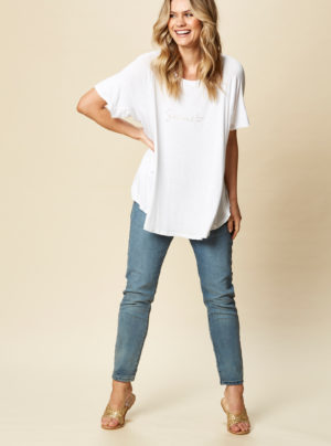 white t-shirt with Señorita written across the front