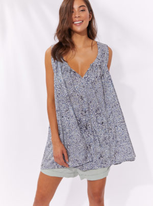 sleeveless swing top in blue animal print