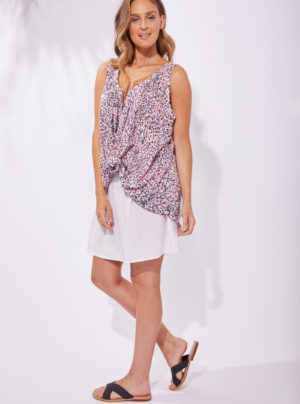 sleeveless blouse with pink animal print