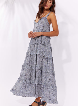 frill maxi dress in blue animal print
