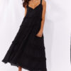multi tiered frill maxi dress in black