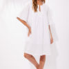 white linen knee length dress