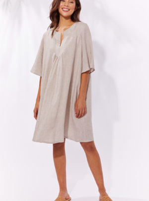 Sand coloured linen dress