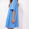 knee length linen dress in mid blue colour