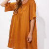linen dress in caramel colour