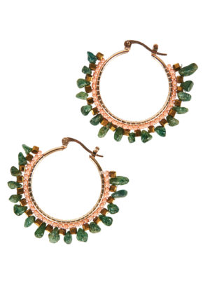 gold earrings with small jade stones