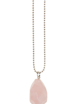 Ball chain necklace with pink coloured stone