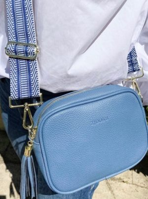 Cross body bag in denim blue