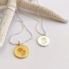 palm tree coin necklace in gold or silver
