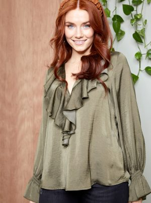 silk ruffle blouse in moss green