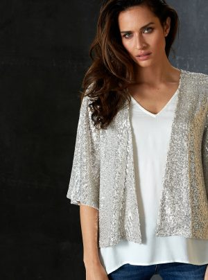 Champagne coloured sequin cape