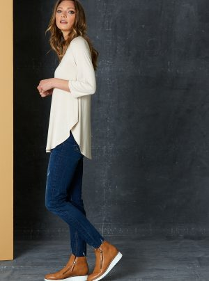 long line stretchy top in oat colour